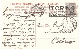 CONSORZIO PROVINCIALE ORFANI DI GUERRA PARMA ANN. COLORNO ( 44-21 ) TARGHETTA TORINO 1928 ESPOSIZIONE - Storia Postale