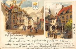 1899 Lithographie  GRÜSS -- MÜNCHEN (Kg?) Hofbräuhaus. Superbe état. Scans Recto Et Verso. - Litografia