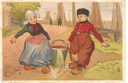 """L.L. Boy And Girl Carriyin Bucket With Water""Tuck Little Hollander Ser.PC # 1379 - Tuck, Raphael"