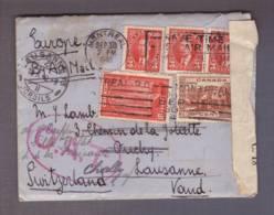 Lettre Par Avion Obl. Montréal 30.09.1940->  Lausanne - Zensur/Censored/Censure C.18 Du Canada + Cachet OAT - 1937-1952 Reign Of George VI