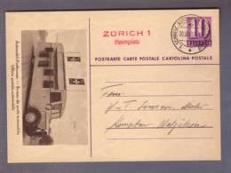 3 Entiers Postaux 1937 (143)  Obl. 1. Schweiz. Automobil-Bureau 1937  -> Kempten-Wetzikon - Entiers Postaux