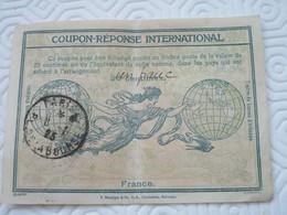 """COUPON-REPONSE INTERNATIONAL - 30 Centimes Surchargé """"un Franc"""" - France"""