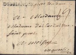 5 Hautes Alpes Marque Postale DEBRIANCON 4 Mai 1771 Lenain N5 40mmX4 1763/1791 Taxe Manuscrite 19 Par Toulouse ? - Poststempel (Briefe)