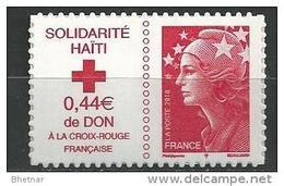"FR Adhesif YT 388 (4434) "" Solidarité Haïti "" 2010 Neuf** - Autoadesivi"