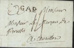 05 Hautes Alpes GAP Noir Lenain 2 Taxe Manuscrite 14 Pour Cavaillon Cachet 22 Mm 1767/1791 - Marcophilie (Lettres)