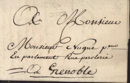 26 Drôme Marque Postale Crest à Sec 15mm Lenain 2a 1767/1791 3 Fev 1772 Taxe Manuscrite 6 Pour Grenoble - Storia Postale