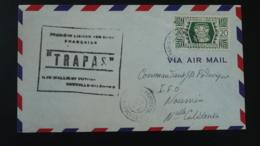 Lettre Par Avion Air Mail Cover Vol Trapas Flight Première Liaison Aérienne Wallis --> Nouvelle Calédonie 1947 - Covers & Documents