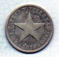 CUBA, 40 Centavos, Silver, Year 1915, KM #14.1, High Relief. - Cuba