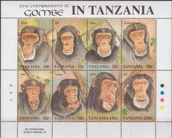 TANZANIA 1992 CHIMPANZEES Of  Gombe National Park Sheetlet - Chimpanzees
