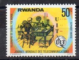 RWANDA - UIT - 1977 - 50ç - TELEGRAPHE - SAMUEL MORSE - ALPHABET MORSE - - Rwanda