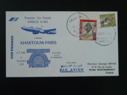 Lettre Premier Vol First Flight Cover Khartoum Soudan --> Paris Airbus A300 Air France 1979 - Soudan (1954-...)