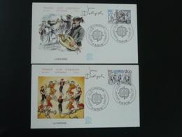 FDC (x2) Signées Delpech Danse Folklore Musique Europa 1981 - Dance