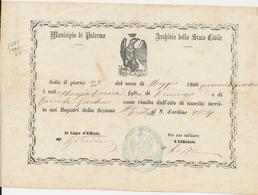 1844 PALERMO ATTO DI NASCITA - Vecchi Documenti