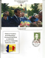 Visite Du President Macron,Co-Prince D'Andorre, Septembre 2019,au Dos Napoléon 1 Er, 1 Er Co-Prince, Avec Cachet Andorre - France