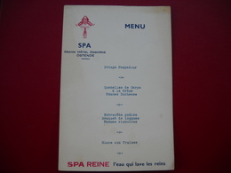Belgique, Grand Hotel Osbrne Ostende .  Menu Pub SPA L' Eau Qui Lave Les Reins . - Menus