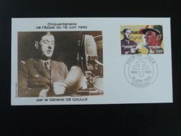FDC Général De Gaulle Appel Du 18 Juin Guinée 1990 (non Dentelé) - De Gaulle (Général)