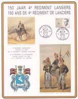 Feuillet 2127 150 Ans De 4e Régiment De Lanciers Lansiers Tienen - Lettres & Documents