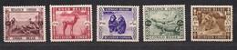 Belgisch Congo Belge 1939 OBCn° 209-13 (*) MLH Cote 40 Euro Faune Divers - Congo Belge