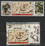AJMAN - N°2010/2+BLOC N°437 ** (1972) Mosaïques / Oiseaux - Ajman