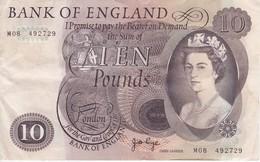 BILLETE DE REINO UNIDO DE 10 POUNDS DEL AÑO 1965-1975 (BANK NOTE) - 1952-… : Elizabeth II