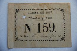 Carte Nominative Classe De 1867 Strasbourg Tres Rare Tirage Au Sort Conscript Conscription - Documenti Storici