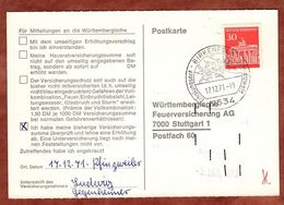 Karte, Brandenburger Tor Berlin, SoSt Birkenfeld, Nach Stuttgart 1971 (91491) - BRD