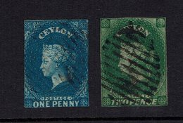 Ceylon One Penny Blue And Two Pennies Green. - Ceylan (...-1947)