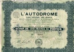L'Autodrome - Action Au Porteur Avec Coupons -  Paris 1924 Parc National Des Sports - Voiture Automobile - Cars