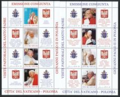 VATIKAN Mi. Nr. 1474-1481 Pastoralreisen Johannes Pauls II. Nach Polen - Kleinbogen - MNH - Blocs & Feuillets