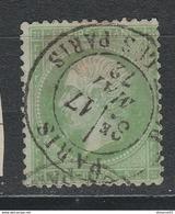 """N°20 Vert Pâle Usé Sur Papier Bleuté + RARE CàD """"Passy Les Paris"""""""" Du 17 Mai 1872  TBE - 1862 Napoléon III."""