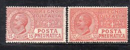 T90 - REGNO 1927 , Posta Pneumatica  Serie N. 12/13  *  Linguella (M2200) - Posta Pneumatica