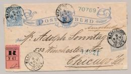 Nederland - 1895 -  5 Cent Hangend Haar, Postblad G2b + 5 & 12,5 HH Met Roze R-strook Van Maastricht Naar Chicago / USA - Entiers Postaux
