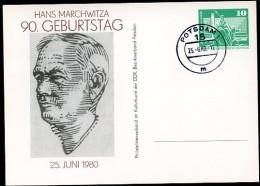 DDR PP16 D2/048 Privat-Postkarte HANS MARCHWITZA Potsdam Stpl. 1980  NGK 4,00 € - [6] Oost-Duitsland
