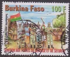 Burkina Faso 2019  Military Militaire Rifle Arms Soldat Soldier Flag Drapeau 100 Fcfa Manque Un Dent One Short Used Obl. - Burkina Faso (1984-...)
