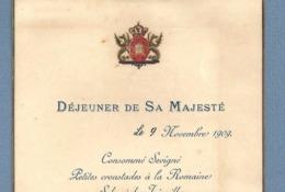 1909 MENU DEJENEUR De Sa MAJESTÉ KING Of PORTUGAL Visits REYES ESPAÑA. Menu Almoço Gala REI D.MANUEL II - Menu
