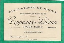 Carte De Visite Fromagerie De Crouy (02) Coppeaux-Lebeau Spécialités De Maroilles 2scans - Visitenkarten