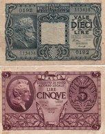 ITALIA  5,10 LIRE 1944  P-31a,32a - [ 1] …-1946: Königreich