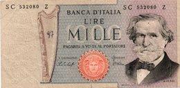 ITALIA  1000 LIRE -Firme: Baffi, Stevani - Stampa: Officina Della Banca D'Italia-Roma 1977 P-101e CIRCOLATA - [ 1] …-1946: Königreich