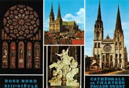 CPM - 28 - Cathédrale De CHARTRES - Façade Ouest - Rose Nord - Chartres