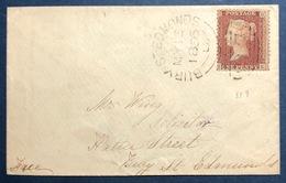 Grande Bretagne 1856 N°8 1 Cent Rouge Type I Oblitéré GC 97 De BURY ST EDMONDS TTB - Covers & Documents