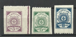LETTLAND Latvia 1919 Michel 15 & 17 - 18 With One Margin Perforated 9 3/4 * - Lettland