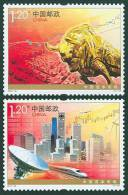 China 2010-30 Capital Markets Stamps Space Satellite Bull Stock Train Windmill Plane Architecture - Airplanes