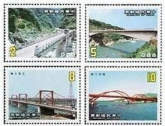 1986 Taiwan Bridge Stamps Boating Rafting Architecture River Scenery Bus - Busses