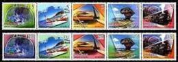 2006 Greeting Stamps Travel Camera Train Waterfall Canoe Park Sailboat Heart Railway Alpine Handbag - Trains