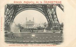 """CPA FRANCE 75 """"Paris, Exposition Universelle 1900, Le Trocadéro Vu Du Champ De Mars"""" / PUBLICITE SAMARITAINE - Exhibitions"""