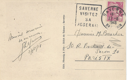"""1948- C P A De SAVERNE ( Bas Rhin ) Affr. Gandon 3 F Oblit. Daguin """" SAVERNE/VISITEZ /SA / ROSERAIE""""  FLEURS - Marcophilie (Lettres)"""