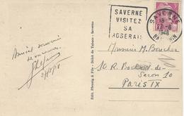"1948- C P A De SAVERNE ( Bas Rhin ) Affr. Gandon 3 F Oblit. Daguin "" SAVERNE/VISITEZ /SA / ROSERAIE""  FLEURS - 1921-1960: Période Moderne"