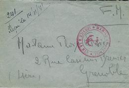 """1941- Enveloppe En F M  """" Marine Française* Service à La Mer * Rouge -au Dos, à Bord Du """" Strasbourg """" - Posta Marittima"""