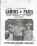 Buvard - GAMINS De PARIS - 1954 - Cinéma - Fourcade Gencel France - Mick Micheyl - Cine & Teatro