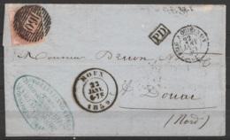 """L. Affr. N°12A P160 Càd ROUX /23 JANV 1859 Pour Notaire à DOUAI - [PD] - Càd """"BELG. A QUIEVRAIN"""" (au Dos: Càd DOUAI /22 - 1858-1862 Médaillons (9/12)"""